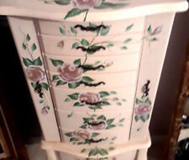 Hand Painted Pink Roses Flowers Pale Wood Jewelry Box Free Standing Armoire