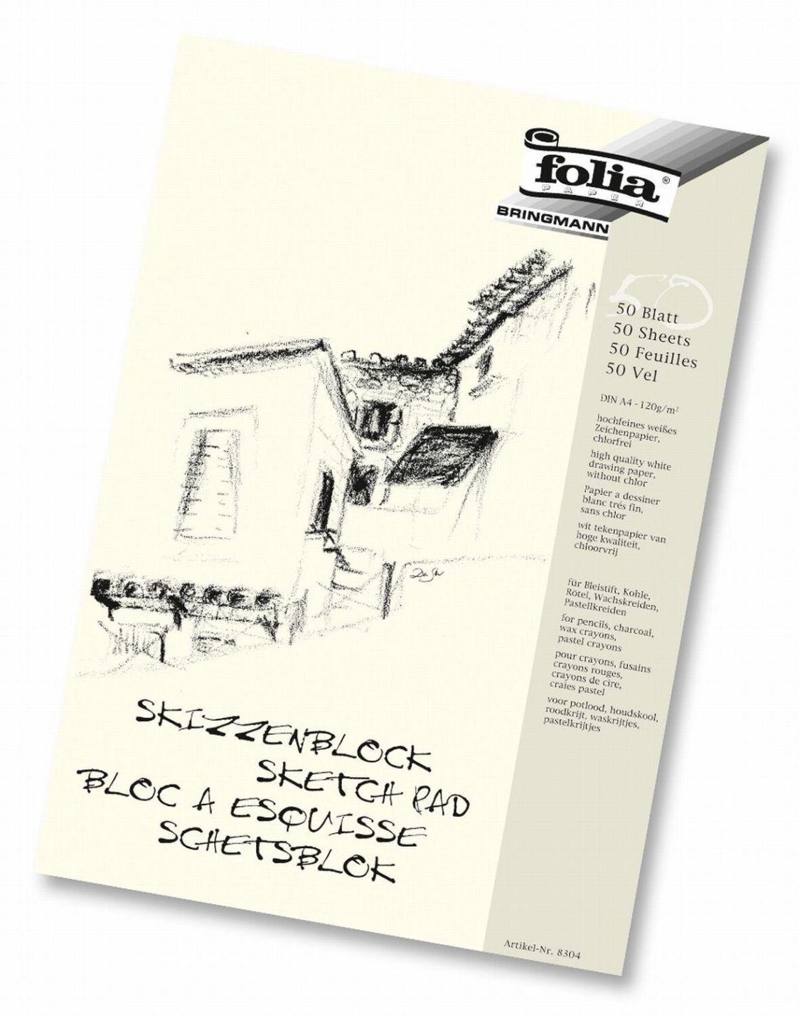 Folia Skizzenblock Zeichenblock Zeichenpapier DIN-A4 120g/m² 50 Blatt hochfein