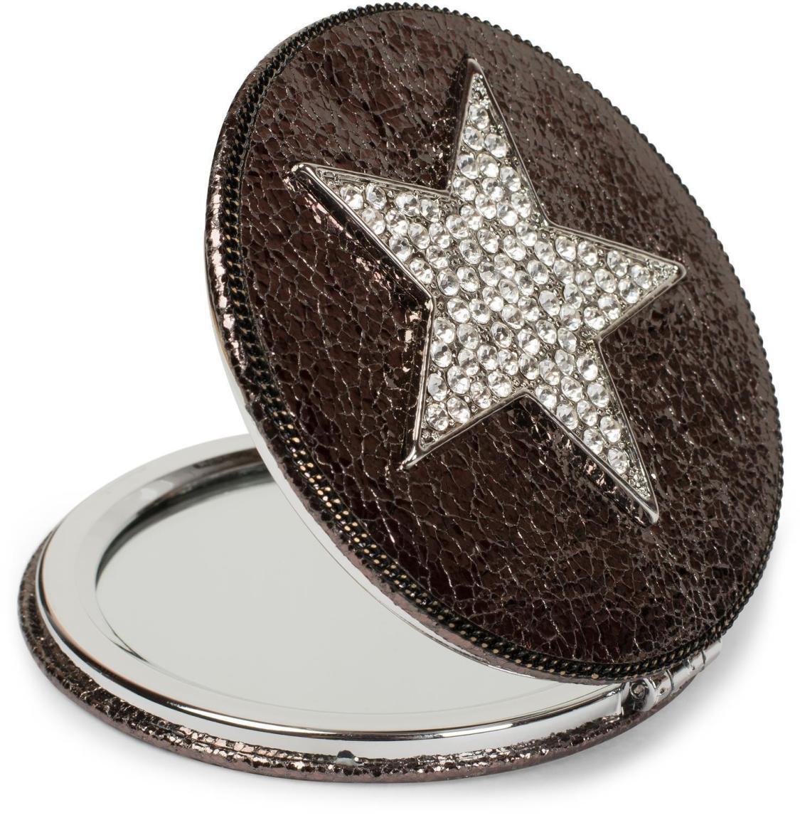 Taschenspiegel rund Strass Stern, Kette, 1X / 3X Vergrößerung, Kompaktspiegel