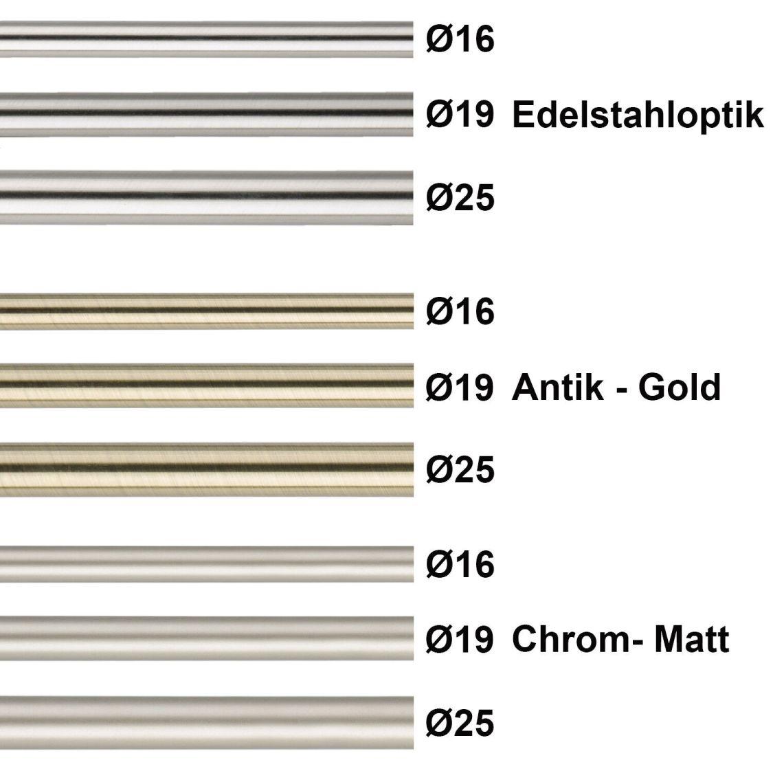 Rohr für Gardinenstange  in Edelstahloptik, Antik, Chrom-matt 16, 19, 25 mm