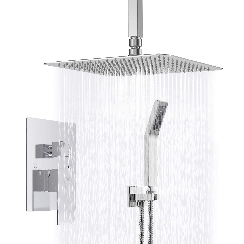 Details About Ceiling Mount Bathroom Rain Mixer Shower Combo Set 8 Inch Rainfall Hand Shower