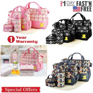 5 Pcs Baby Changing Diaper Nappy Bag Mummy Mother Handbag Multi-functional Set