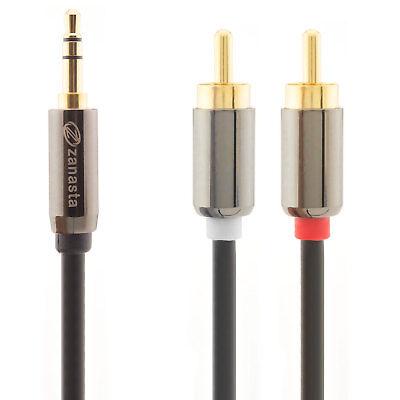 2m Audio Kabel 3,5 mm Klinke auf 2x Cinch RCA Chinch zu AUX Klinke Stecker Jack