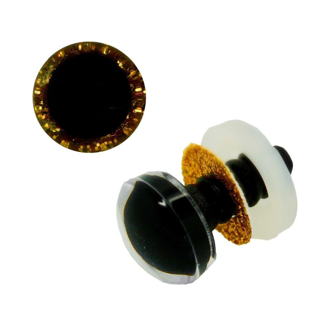 1 Paar Glitzer-Augen gold 12mm, Sicherheitsaugen Puppen, Teddies, Kuscheltiere (