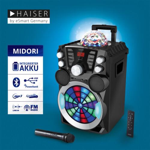 HAISER MIDORI Party Lautsprecher Karaoke Anlage Funkmikro MP3 USB Bluetooth