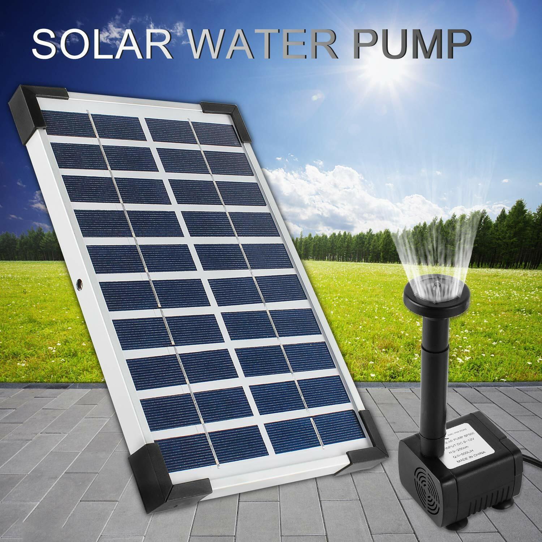 details sur 5w solaire pompe de bassin 380l hauteur etang jardin fontaine