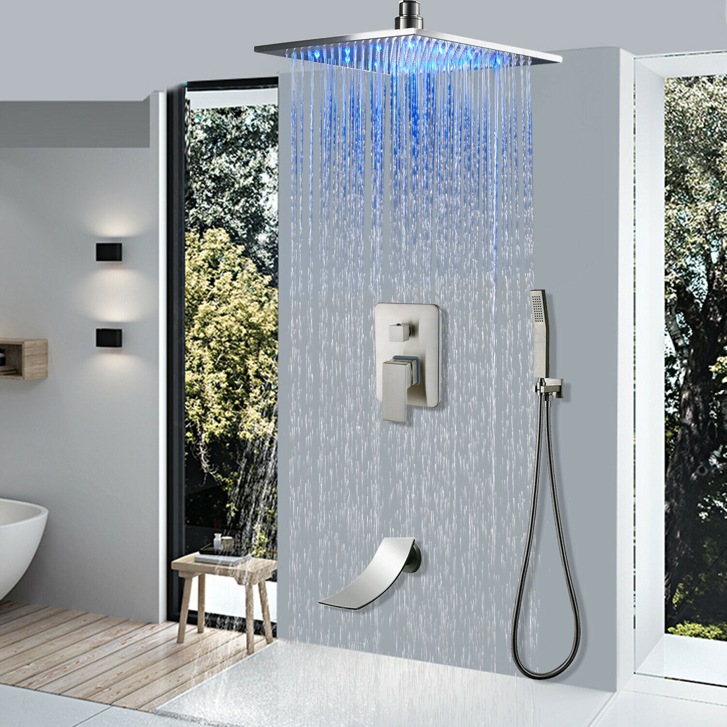 Details About Ceiling Mount 12 Brushed Nickel Led Shower Combo Set Tub Tap W Hand Shower Mixer