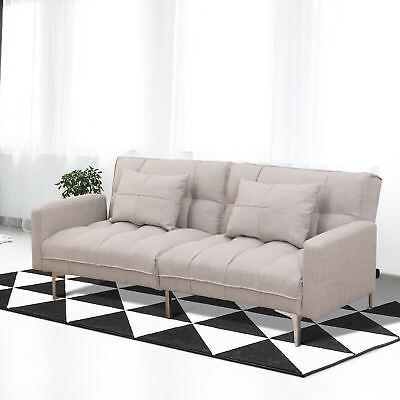 HOMCOM Schlafsofa Schlafcouch Klappsofa Sofa 3 Sitzer mit Kissen Leinen Grau