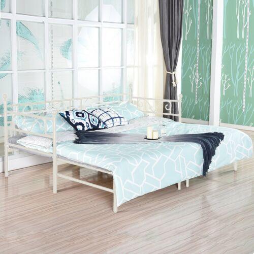 Tagesbett Ausziehbett Metall Single Sofa Ausziehbett mit Unterbett Trundle