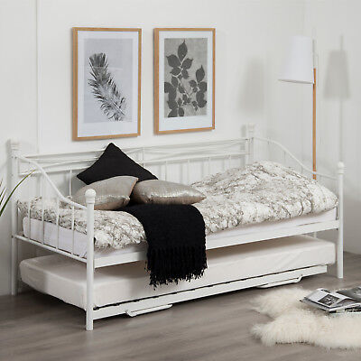 Tagesbett LIVEA mit Ausziehbett Gästebett 190x90cm, Metall weiß, Holz Lattenrost