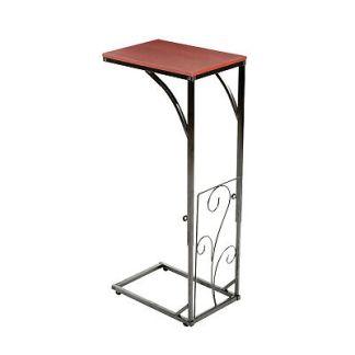 Adjustable Height Sofa Side End Table, Brown Wood Top Black Metal Scroll Design