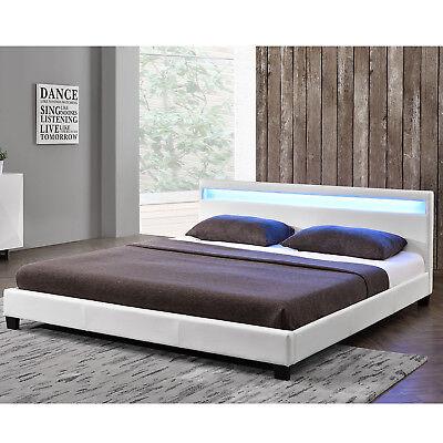 Polsterbett Kunstlederbett Doppelbett LED Bettgestell weiss 140 x 200 | ArtLife