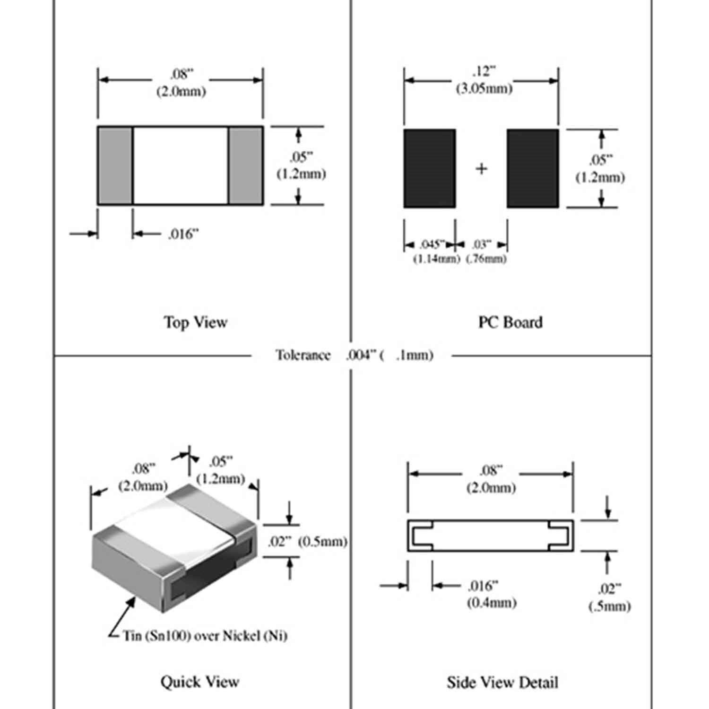 100 X Smd Resistor 360 Ohm 1 8 Watt Led 360ohm 1
