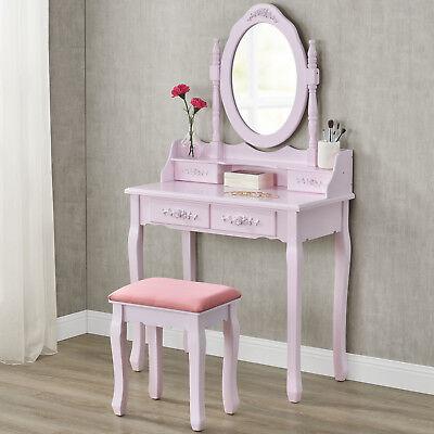 Schminktisch Kosmetiktisch Frisierkommode Kommode mit Hocker rosa pink | ArtLife