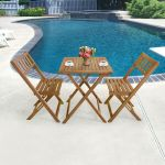 Details About 3 Piece Acacia Wood Folding Patio Bistro Set With 2 Chairs And Square Table