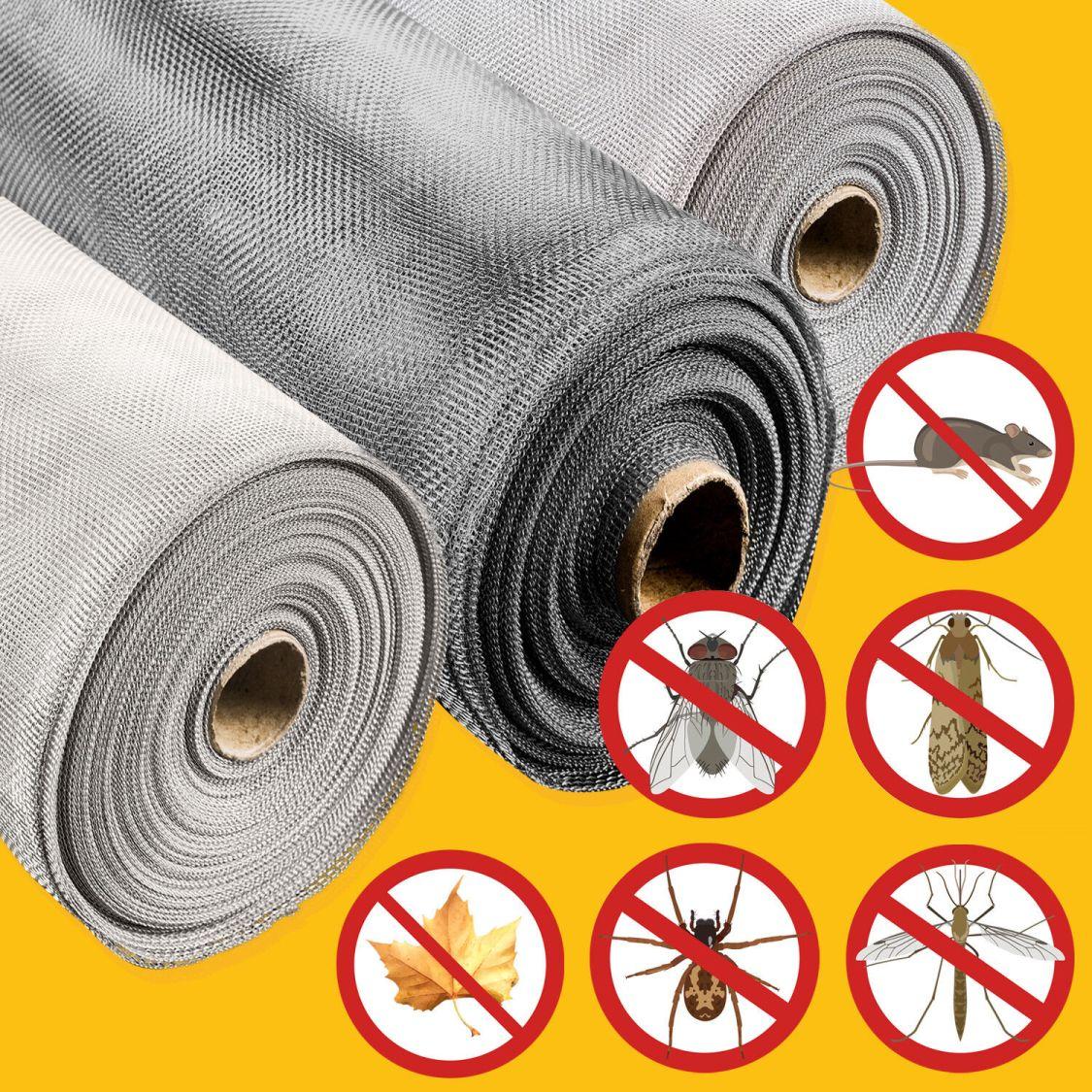 Fliegennetz EDELSTAHL Fliegengitter FENSTER ALU 2m Spannrahmen Insektenschutz