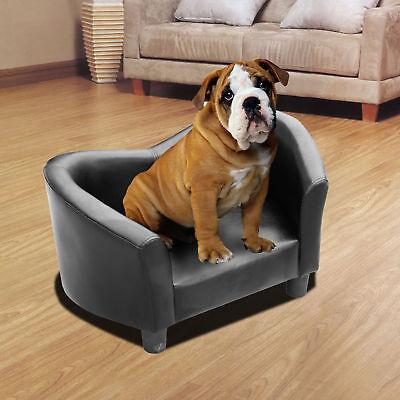 Luxus Hundesofa Katzensofa Sofa Hundecouch Couch Hundebett Kunstleder Schwarz