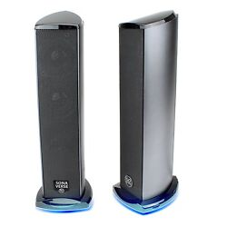 GOgroove SonaVERSE Ti Blue LED Satellite USB Powered Computer Tower Speakers