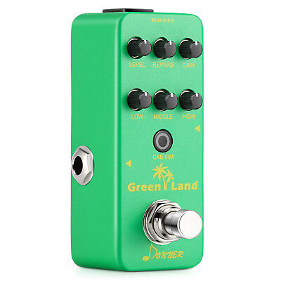 Donner Mini Electric Guitar Preamp Pedal Effect Green Land DC 9V