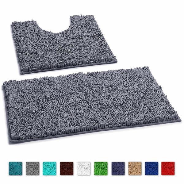LuxUrux 2pc Bath mat-Extra-Soft Plush Non-Slip Bath Shower Bathroom Rug set