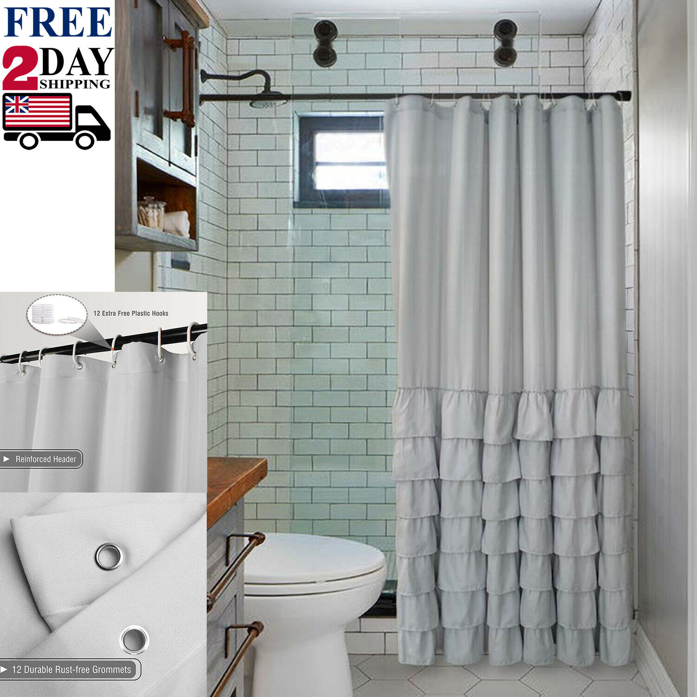 details about farmhouse style ruffle fabric shower curtain light grey bathroom decor 72 x72