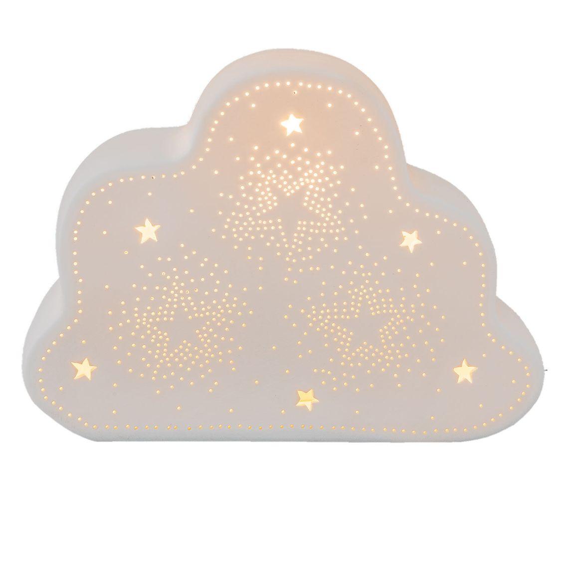Clayre & Eef Tischlampe Tischleuchte Motivlampe Wolke -Sterne weiß 6LMP483