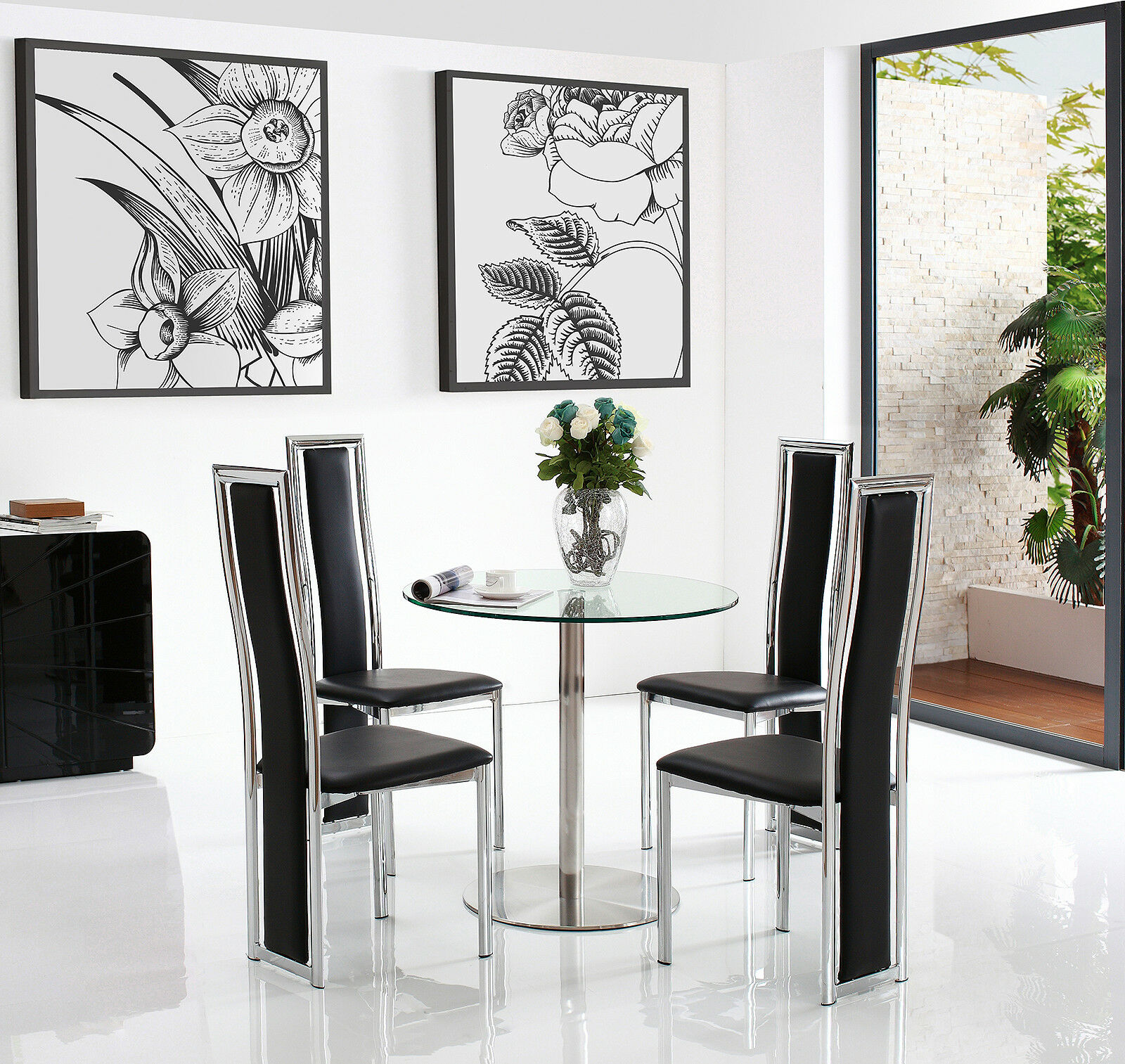 details about target 80 cm round small glass dining table with 2 or 4 elsa leather chairs