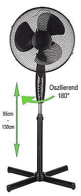 Standventilator Ø41cm Ventilator Windmaschine Klimagerät Luftkühler Rotation NEU
