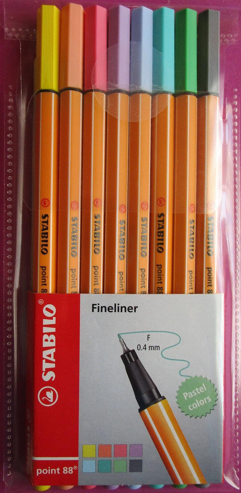 STABILO point 88 Fineliner 8er Etui Pastell Neu Tintenfeinschreiber
