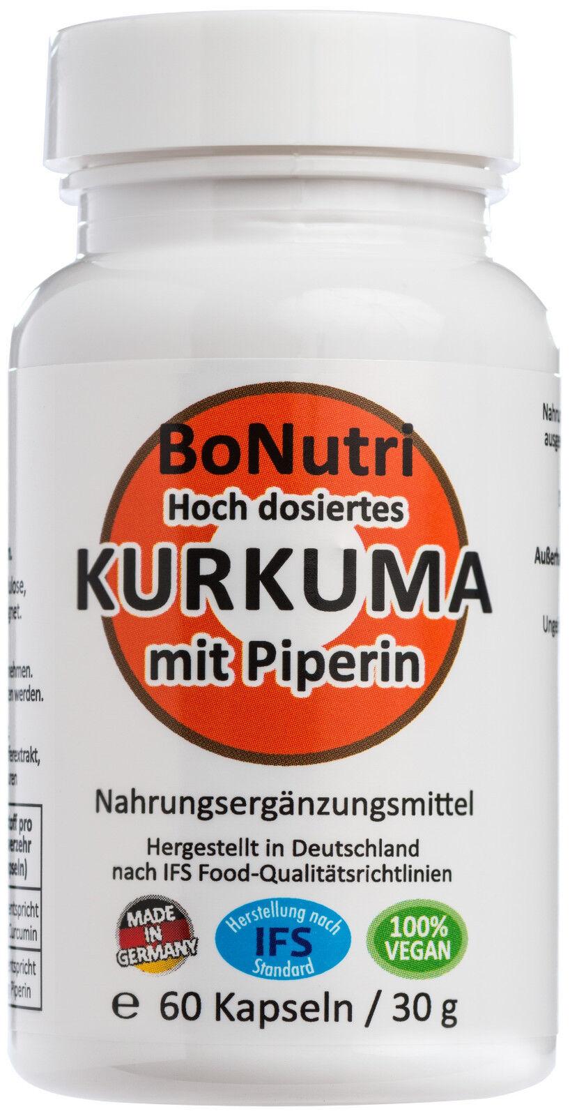 Kurkuma Curcuma mit Piperin 760 mg Curcumin pro Tag 60 Kapseln Monatsbedarf