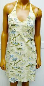 Stussy dress sundress Green Blue Halter Size 9 Cotton Tropical