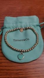 Tiffany & Co. Sterling Silver please return to Ball Bracelet Mini Heart NIB