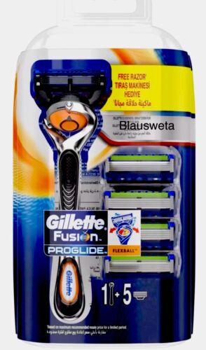 5 Gillette Fusion ProGlide Flexball Rasierklingen+ Rasierer in OVP