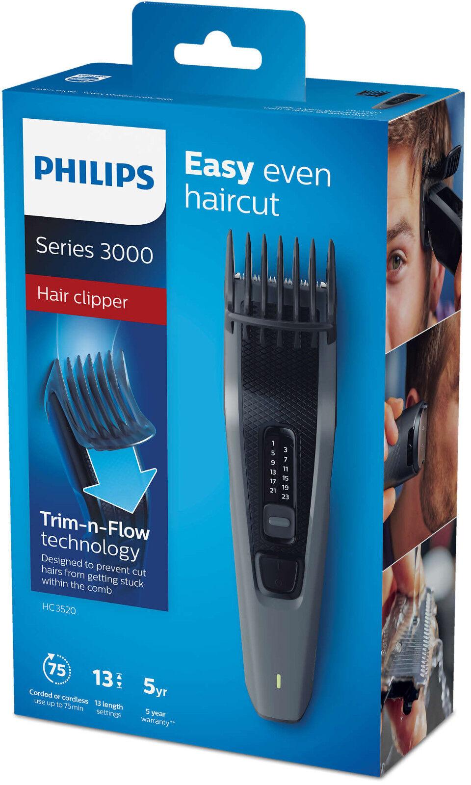 PHILIPS HC 3520 AKKU Trimmer Bart Haar Schneider Haarschneidemaschine Schwarz