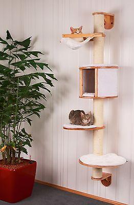 Wand-Kratzbaum 168cm DOLOMIT aus Holz+Kissen+Hängematte