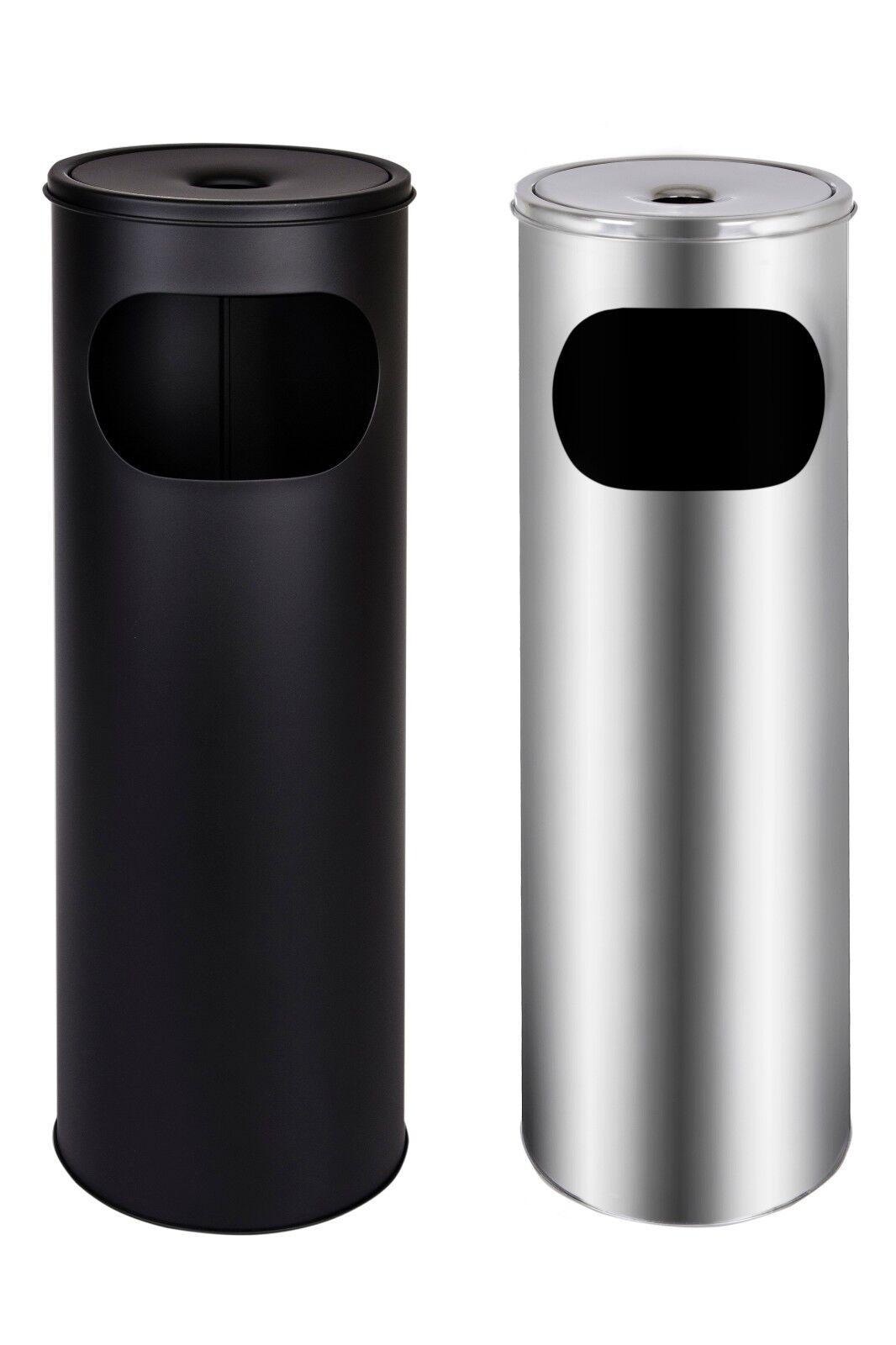 Standaschenbecher Mülleimer Edelstahl Aschenbecher Schwarz Silber 58cm 18L
