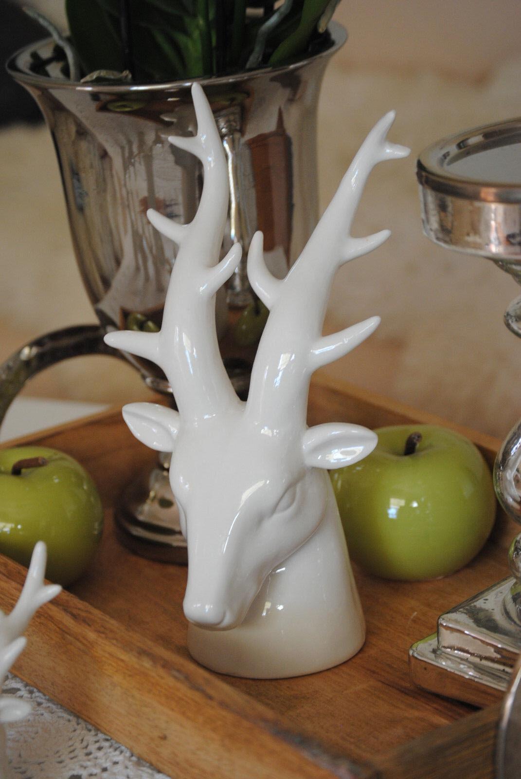 Tisch Dekofigur Hirschgeweih Hirschkopf Geweih Skulptur Porzellan weiß groß