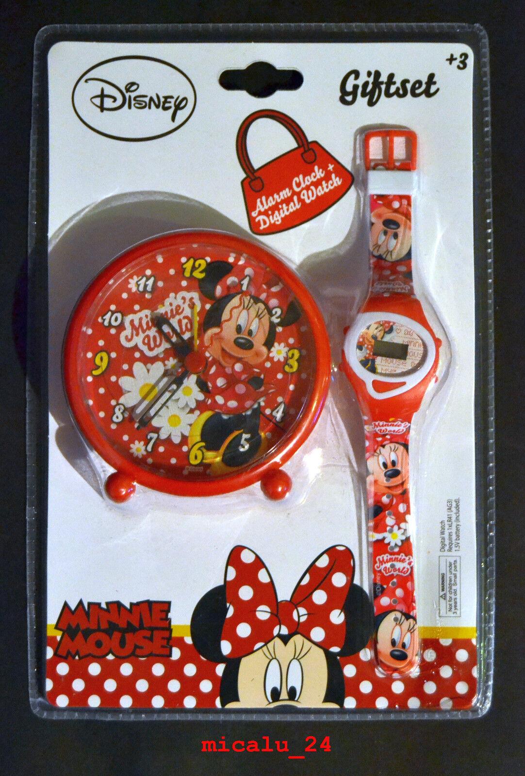 Disney Minnie Maus Digital Armbanduhr & Analog Kinder Wecker Geschenkset NEU