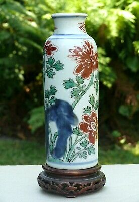 A Chinese Wucai Porcelain Sleeve Vase, Transitional Period, 17th Century