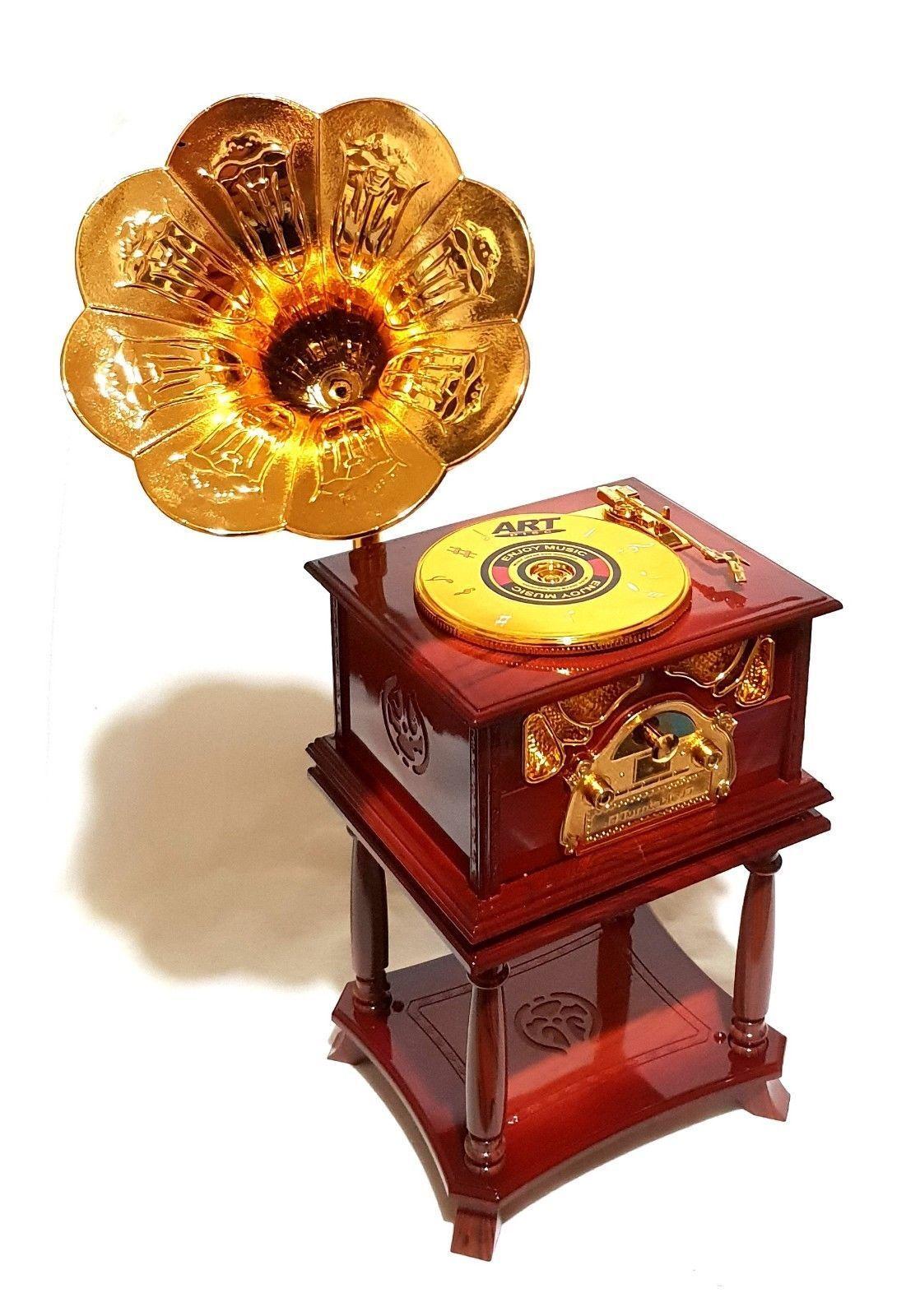 Schöne Retro Spieluhr Grammophone Grammofon Musik Melodie Spieldose Schallplatte