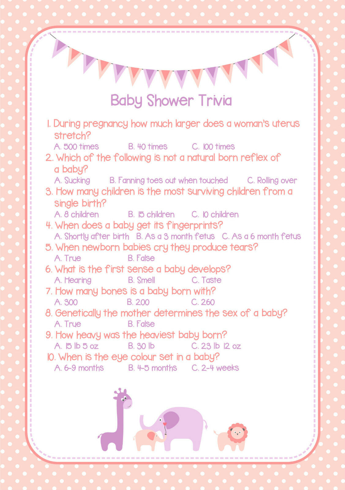 Baby Shower Trivia Game Pink Girl Wow Your Guests Professionally Printed