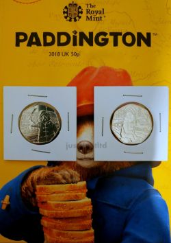 2X  Paddington Bear at The Station & The Palace Gift Sale 50p Coin 2018 Gift Set