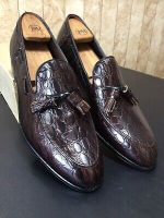 Vintage Fortune Men's Shoes NOS 3138 Brown Embossed Leather Loafers Sz 4120 12D