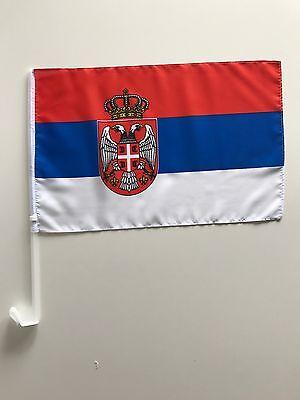 Autofahne Autoflagge Serbien 30x45 cm mit Wappen