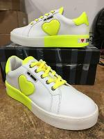 Love Moschino Women's White Yellow Leather Heart Low Top Sneakers Shoes 9 US