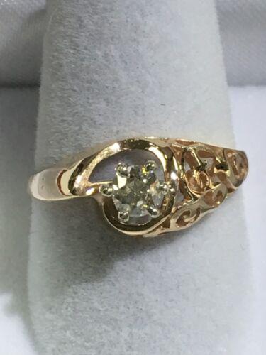 14k Gold And Diamond Vintage Asymmetric Wedding Ring EBay