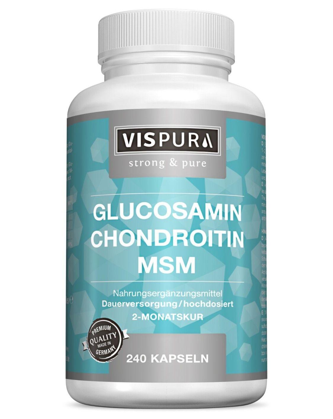 Glucosamin + Chondroitin + MSM 240 Kapseln 2 Monatskur BESTE BIOVERFÜGBARKEIT