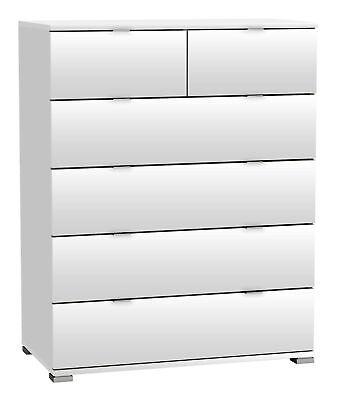 Kommode weiß B 80 cm 6 Schubladen Schrank Schlafzimmer Aufbewahrung Standschrank