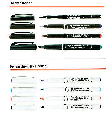 Folienschreiber centropen Folienstift wasserfest wasserlöslich 4 Farben S M F B