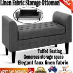Linen Fabric Storage Ottoman Bench Bedroom Furniture Lounge Seat Footstool Grey Ebay